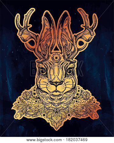 Ornate decorative jacalope magical creature portrait, horned rabbit in American folklore. For tattoo or t-shirt. Fantasy card or poster. Ethnic design, mystic tribal boho symbol. Vector illustration.
