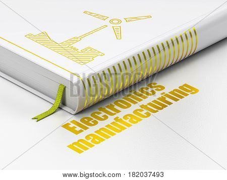Industry concept: closed book with Gold Windmill icon and text Electronics Manufacturing on floor, white background, 3D rendering