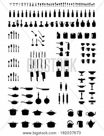 Black silhouettes of kitchenware on a white background
