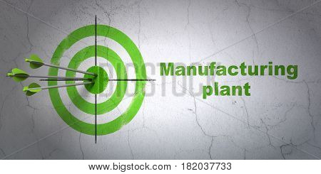 Success Industry concept: arrows hitting the center of target, Green Manufacturing Plant on wall background, 3D rendering