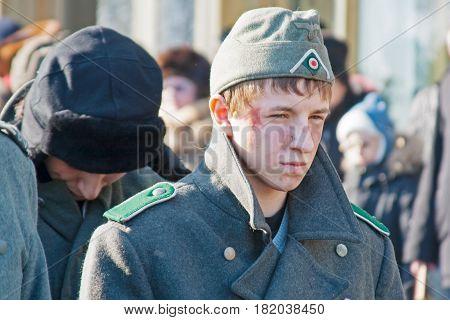 Volgograd Russia - January 30 2011: Portrait of boy dressed as German soldier of World War II in reconstruction of the capture of field Marshal Paulus in Volgograd.