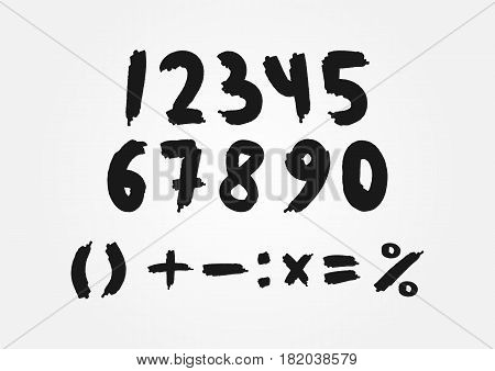 Mathematical set of numbers drawn a rough brush. One two three four five six seven eight nine zero. Plus minus equal multiplication division percentage parentheses. Isolated symbols.