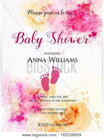 Template for baby shower invitation. Watercolor abstract roses. Pink and yellow colored.