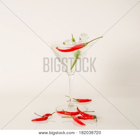 Drink In Martini Glass, Martini Drink With Red And Green Pepper, Seashells