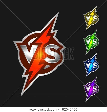 Versus symbol. VS Letters with Glowing Lightning.