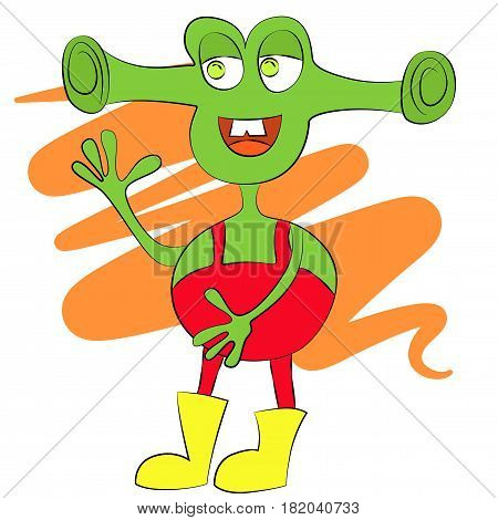 Cartoon cute green alien with big smile and ears.