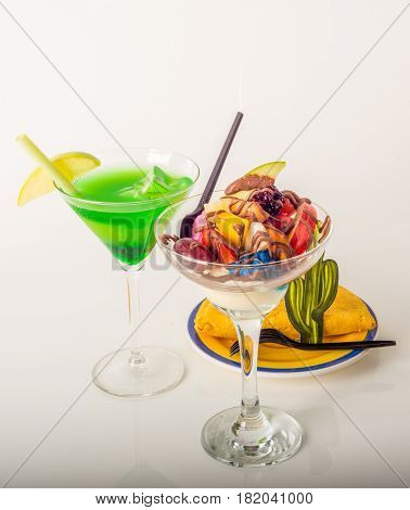 Fruit Ice Cream, Decorated With Fresh Fruit, Chocolate Covered, Green Drink, Martini Glass, Jamaican