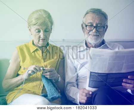 Photo Gradient Style with Senior Couple Read Newspaper Crochet