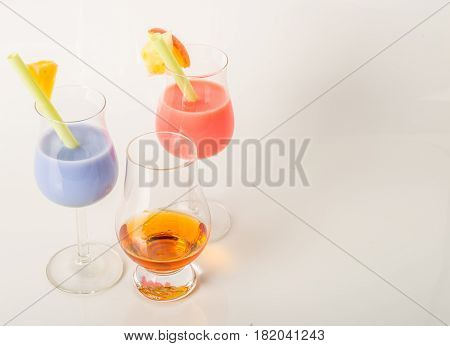 Single Malt Tasting Glass With Whisky, Two Color Drinks, White Background