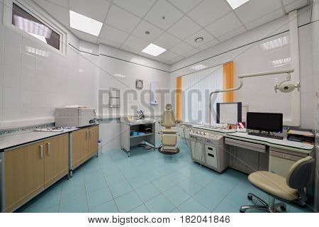Interior of room with medical equipment.