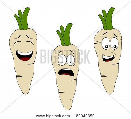 Set of cartoon parsley character with different expressions isolated on white background