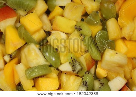 Organic Fruit Salad with Mango, Grape, Pineapple, Apple, Kiwi and other fruits