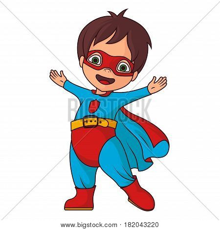 Cheerful super hero boy on a white background