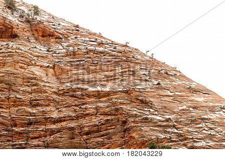 Beautiful rock formation winter time wind erosion Zion National Park Utah USA