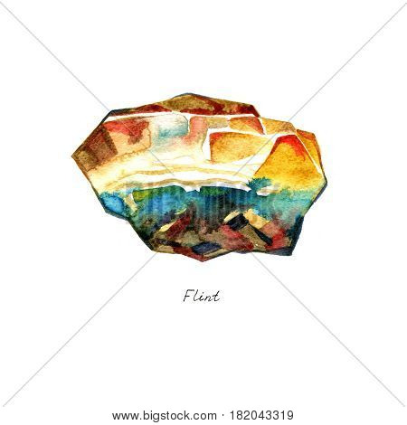 Hand drawn illustration of mineral flint stone for your design