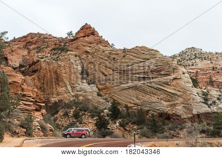 The Road Into Zion and car park