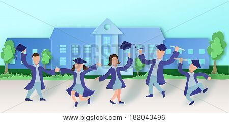 Graduation party background in paper art style with happy cartoon graduates. Vector illustration in carved craft style