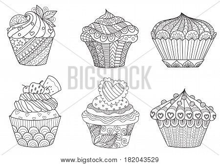 Six zendoodle cupcakes for design element and adult or kids coloring book page for anti stress.Vector illustration