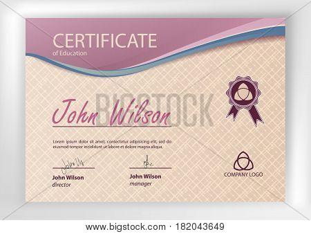 Certificate or Diploma of completion design template. Vector illustration of Certificate of Achievement award winner certificate.