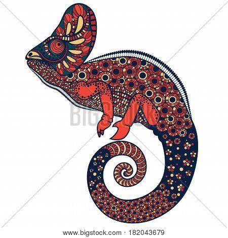 Colorful ornate chameleon vector illustration on a white background
