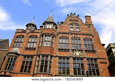 Chester England UK Europe - May 26 2014 : Historical architecture on Eastgate Street in Chester
