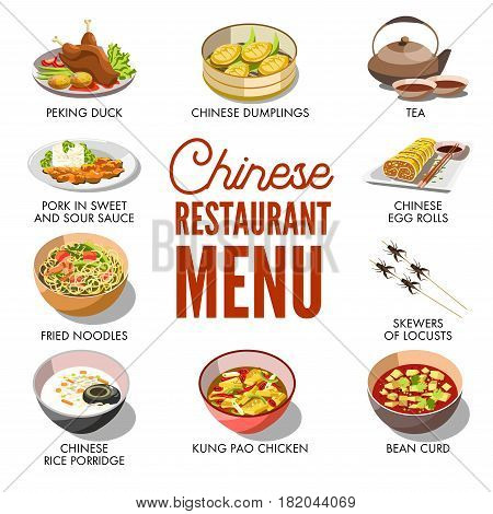 Chinese restaurant menu cover template design. Traditional China cuisine dishes set of meat dumplings and peking duck, rolls and noodle spicy soup with sour or hot sweet sauce