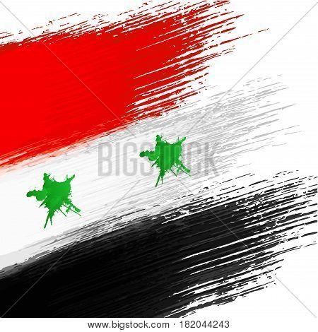 Syrian flag grunge background on a white background