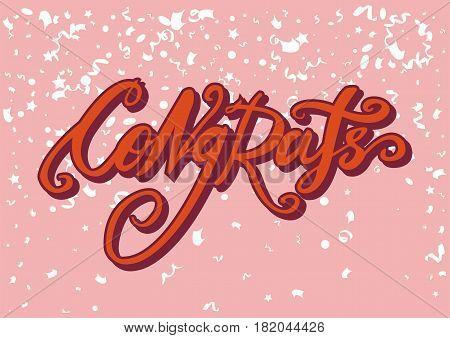 Congrats or congratulation hand drawn text calligraphy. Vector lettering of festive font for greeting card on pink confetti background