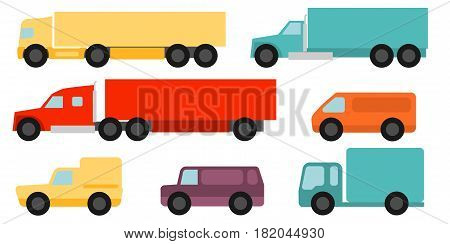 Flat style commercial vehicles set on a white background