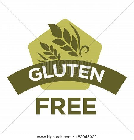 Gluten free vector logo template. Isolated icon for healthy dietetic food product or package label