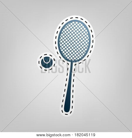 Tennis racquet sign. Vector. Blue icon with outline for cutting out at gray background.