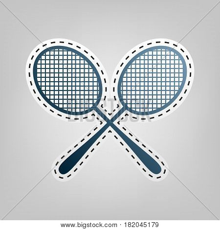 Tennis racquets sign. Vector. Blue icon with outline for cutting out at gray background.