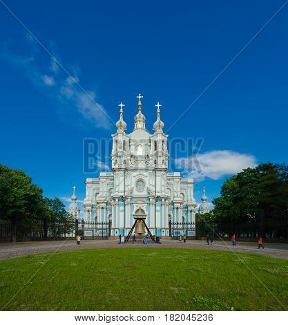 Smolny Cathedral Church, Saint Petersburg, Russia. Summer day.