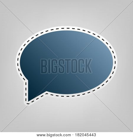 Speech bubble icon. Vector. Blue icon with outline for cutting out at gray background.