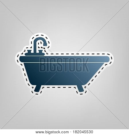 Bathtub sign illustration. Vector. Blue icon with outline for cutting out at gray background.