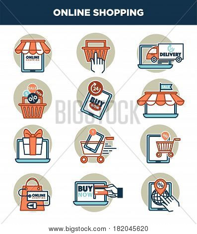 Online shopping logos or icons templates. Vector isolated web store elements design of internet shop cart, tablet with hand and credit card or promo sale banners and gift boxes