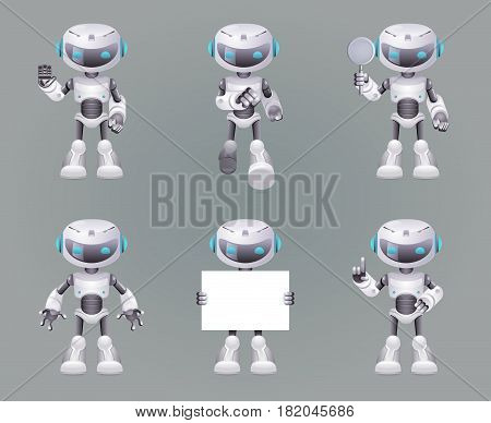 Different Poses Robot innovation technology science fiction future cute little Icons set design vector illustration