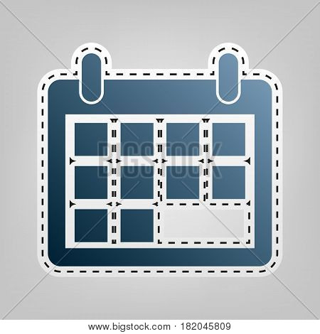 Calendar sign illustration. Vector. Blue icon with outline for cutting out at gray background.