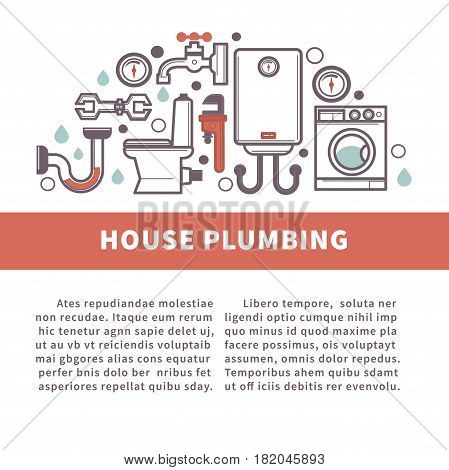 House plumbing of bathroom and kitchen household and plumber fixture tools. Vector poster template design