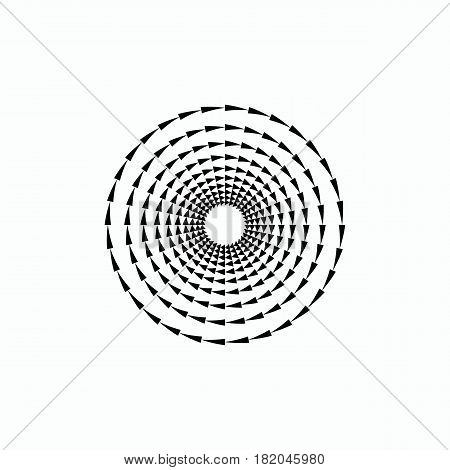 Hipster design element. Concentric circles of triangles. Vector illustration.