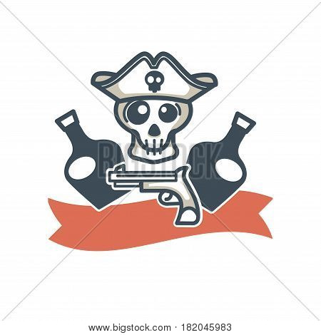 Jolly Roger pirate vector icon or logo. Vector symbol of piracy flag, skeleton skull in captain tricorn hat, whiskey or rum bottles and gun