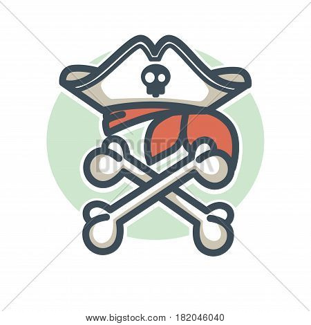 Pirate vector icon or logo. Vector symbol of crossed skeleton bones, skull on captain tricorne hat and bandana. Jolly Roger piracy flag design element