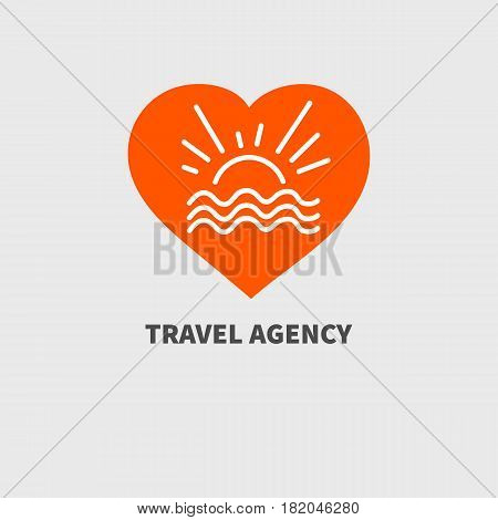 Logo of hotel travel agency. Orange icon vacation. Hand drawn heart sea sun and sunrays. Vector illustration