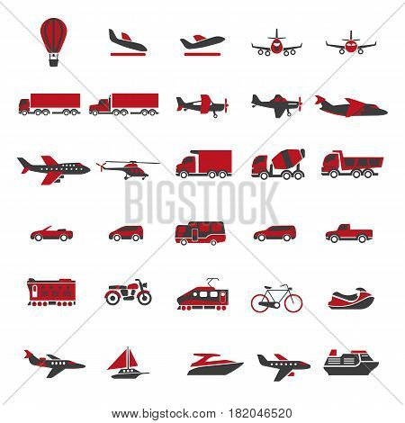 Transport and vehicles flat icons. Vector set of aircraft and helicopter, truck and lorry, boat and ship, bike and motorbike with car and van. Public passenger and freight transportation elements