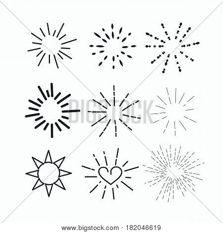 Unique hand drawn set line burst sunburst starburst isolated. Trendy graphic design elements. Vector illustration.