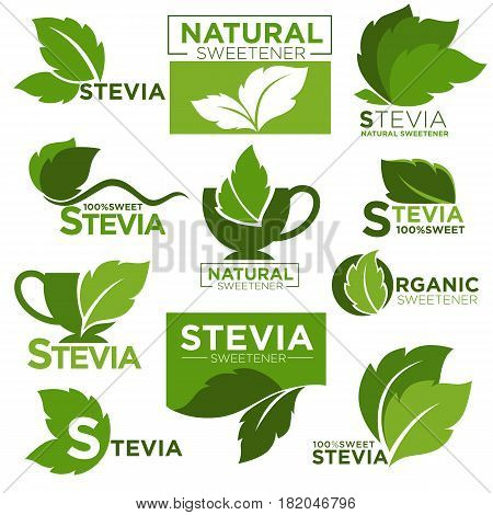 Stevia sweetener vector logo templates. Green leaf of sugar natural substitute for healthy dietetic food and organic product labels. Vector isolated icons set
