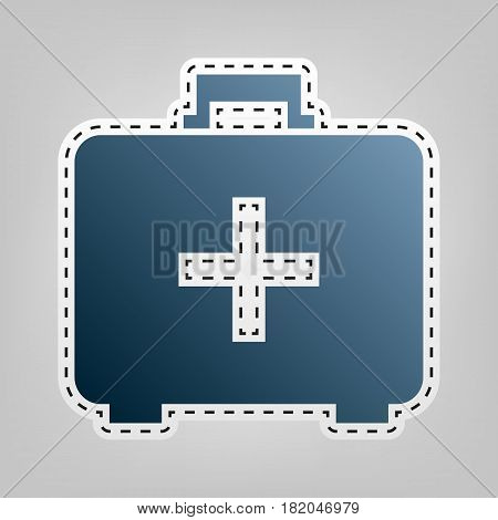 Medical First aid box sign. Vector. Blue icon with outline for cutting out at gray background.