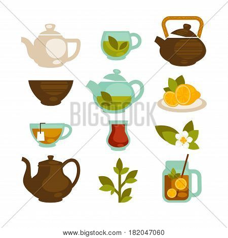 Tea logo templates. Green tea cups or mugs, brew teapot and herbal and fruit teabags with sliced lemon and jasmine blossom. Vector isolated icons set for cafe menu and product packaging design