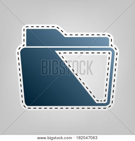 Folder sign illustration. Vector. Blue icon with outline for cutting out at gray background.