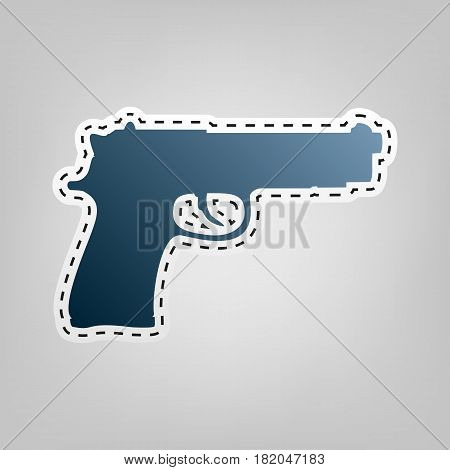 Gun sign illustration. Vector. Blue icon with outline for cutting out at gray background.